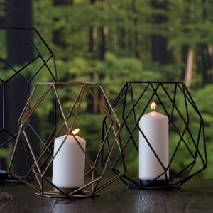 Black Iron Wire and Glass Ashkaal Candle Holder (S)