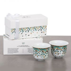 Gift Box Of 2 Mirrors Arabic Coffee Cups - Emerald Green