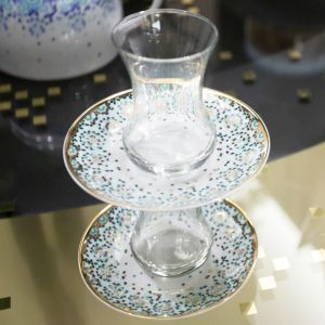 Gift Box Of 2 Mirrors Teacups - Emerald