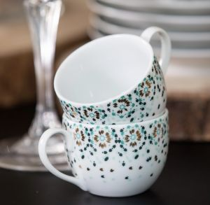 Mirrors Espresso Cup and Saucer - Emerald Green