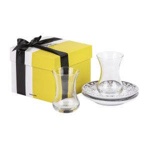 Gift Box Of 2 Mirrors Teacups - Silver