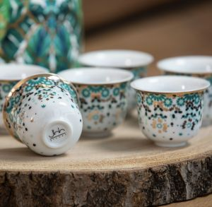 Mirrors Arabic Coffee Cup - Emerald Green