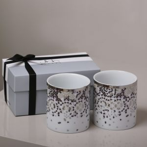 Gift Box of 2 Mirrors Green Tea Cups - Silver