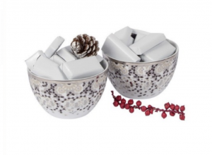 Set of 2 Mirrors Condiment Bowls - Silver