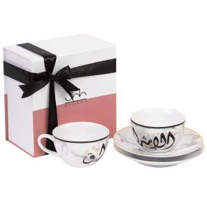 Gift Box Of 2 Mulooki Porcelain Teacups - Light
