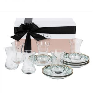 Gift Box of 6 Mirrors Teacups - Emerald Green