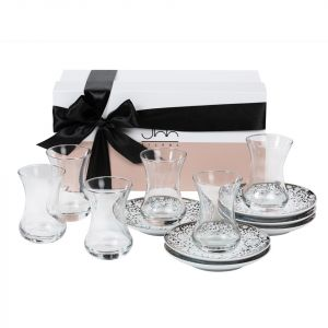 Gift Box of 6 Mirrors Teacups - Silver