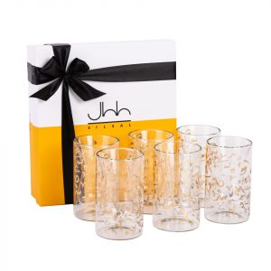 Gift Box Of 6 Accents Double Walled Teacups - Gold