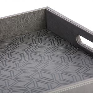 Kunooz Engraved Faux Leather Tray - Charcoal (L)