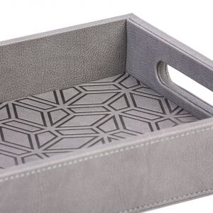 Kunooz Engraved Faux Leather Tray - Grey (S)