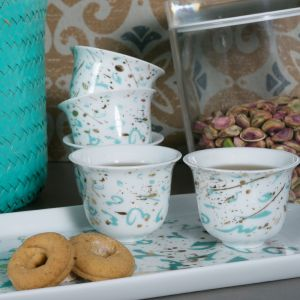 Gift Box Of 2 Accents Arabic Coffee Cups - Turquoise