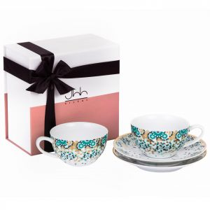 Gift Box Of 2 Mirrors Porcelain Teacups - Emerald
