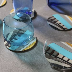 Set of 6 Sarb Coasters with Acrylic Holder