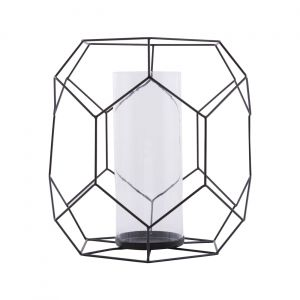 Black Iron Wire and Glass Ashkaal Candle Holder (L)