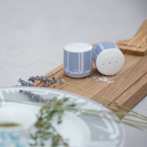 Sky Blue Kufic Salt and Pepper Shakers