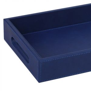 Faux Leather Tray - Blue (S)