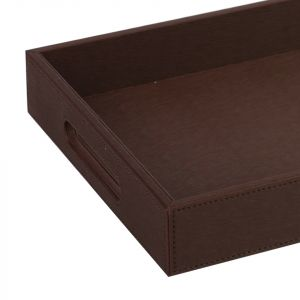 Faux Leather Tray - Brown (M)