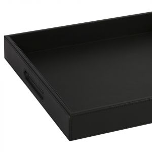Faux Leather Tray - Black (L)