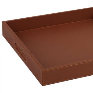 Faux Leather Tray Brown (L)