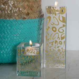 Accents Glass Candleholder - Gold (S)